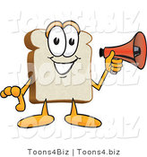Vector Illustration of a Cartoon Bread Mascot Holding a Red Bullhorn Megaphone by Toons4Biz