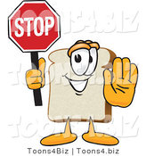 Vector Illustration of a Cartoon Bread Mascot Holding a Stop Sign with One Hand out by Toons4Biz