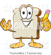 Vector Illustration of a Cartoon Bread Mascot Holding a Yellow Pencil with an Eraser by Toons4Biz