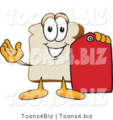 Vector Illustration of a Cartoon Bread Mascot Holding out a Red Clearance Sales Price Tag by Toons4Biz