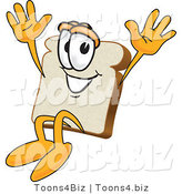 Vector Illustration of a Cartoon Bread Mascot Jumping with Excitement by Toons4Biz