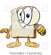 Vector Illustration of a Cartoon Bread Mascot Peering Through a Magnifying Glass by Toons4Biz
