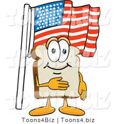Vector Illustration of a Cartoon Bread Mascot Pledging Allegiance to the American Flag by Toons4Biz