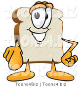 Vector Illustration of a Cartoon Bread Mascot Pointing Outwards at the Viewer by Toons4Biz