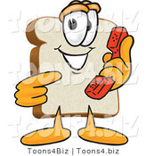 Vector Illustration of a Cartoon Bread Mascot Pointing to a Red Telephone Receiver by Toons4Biz
