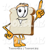 Vector Illustration of a Cartoon Bread Mascot Pointing Upwards by Toons4Biz