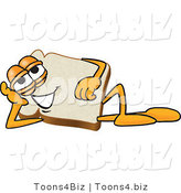 Vector Illustration of a Cartoon Bread Mascot Reclined and Resting His Head on His Hand by Toons4Biz