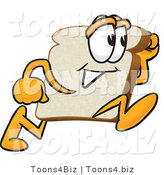 Vector Illustration of a Cartoon Bread Mascot Running Fast by Toons4Biz