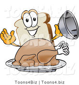 Vector Illustration of a Cartoon Bread Mascot Serving a Cooked Turkey on a Platter by Toons4Biz