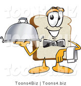 Vector Illustration of a Cartoon Bread Mascot Serving a Dinner Platter While Waiting Tables by Toons4Biz