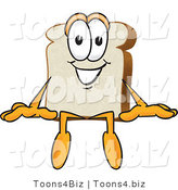 Vector Illustration of a Cartoon Bread Mascot Sitting by Toons4Biz
