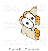 Vector Illustration of a Cartoon Bread Mascot Spying Around a Corner by Toons4Biz