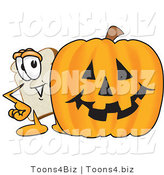 Vector Illustration of a Cartoon Bread Mascot Standing Behind a Halloween Pumpkin by Toons4Biz