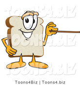 Vector Illustration of a Cartoon Bread Mascot Using a Pointer Stick by Toons4Biz