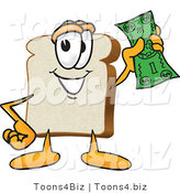 Vector Illustration of a Cartoon Bread Mascot Waving a Banknote by Toons4Biz