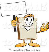 Vector Illustration of a Cartoon Bread Mascot Waving a Blank White Advertising Sign by Toons4Biz
