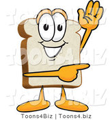 Vector Illustration of a Cartoon Bread Mascot Waving and Pointing by Toons4Biz