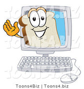 Vector Illustration of a Cartoon Bread Mascot Waving from Inside a Computer Screen by Toons4Biz