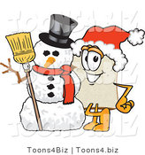 Vector Illustration of a Cartoon Bread Mascot Wearing a Santa Hat and Standing with Frosty the Snowman on Christmas by Toons4Biz