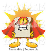 Vector Illustration of a Cartoon Bread Mascot Wearing a Super Hero Cape and Mask by Toons4Biz
