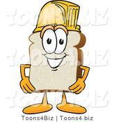 Vector Illustration of a Cartoon Bread Mascot Wearing a Yellow Hardhat Helmet by Toons4Biz