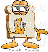 Vector Illustration of a Cartoon Bread Mascot Whispering and Telling Secrets or Gossip by Toons4Biz