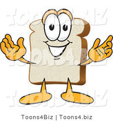 Vector Illustration of a Cartoon Bread Mascot with His Arms Open by Toons4Biz