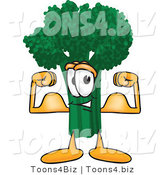 Vector Illustration of a Cartoon Broccoli Mascot Flexing His Arm Muscles by Toons4Biz
