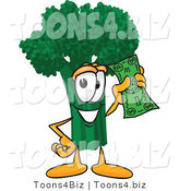 Vector Illustration of a Cartoon Broccoli Mascot Holding a Banknote by Toons4Biz