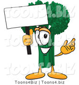 Vector Illustration of a Cartoon Broccoli Mascot Holding a Blank White Sign by Toons4Biz