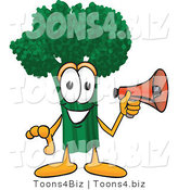 Vector Illustration of a Cartoon Broccoli Mascot Holding a Bullhorn Megaphone by Toons4Biz
