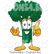 Vector Illustration of a Cartoon Broccoli Mascot Holding a Pencil by Toons4Biz