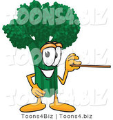 Vector Illustration of a Cartoon Broccoli Mascot Holding a Pointer Stick by Toons4Biz