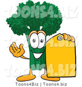 Vector Illustration of a Cartoon Broccoli Mascot Holding a Yellow Sales Price Tag by Toons4Biz