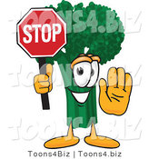 Vector Illustration of a Cartoon Broccoli Mascot Holding up a Stop Sign by Toons4Biz