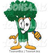 Vector Illustration of a Cartoon Broccoli Mascot Looking Through a Magnifying Glass by Toons4Biz