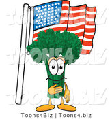 Vector Illustration of a Cartoon Broccoli Mascot Pledging Allegiance to the American Flag by Toons4Biz