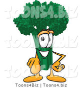 Vector Illustration of a Cartoon Broccoli Mascot Pointing Outwards by Toons4Biz