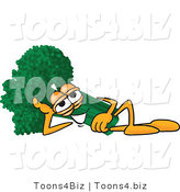 Vector Illustration of a Cartoon Broccoli Mascot Resting His Head on His Hand While Lying down on His Side by Toons4Biz