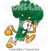 Vector Illustration of a Cartoon Broccoli Mascot Running Fast by Toons4Biz