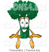 Vector Illustration of a Cartoon Broccoli Mascot Sitting by Toons4Biz