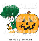 Vector Illustration of a Cartoon Broccoli Mascot Standing by a Halloween Pumpkin by Toons4Biz