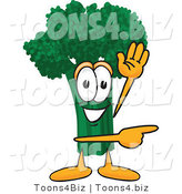 Vector Illustration of a Cartoon Broccoli Mascot Waving and Pointing by Toons4Biz