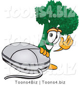 Vector Illustration of a Cartoon Broccoli Mascot Waving and Standing by a Computer Mouse by Toons4Biz