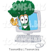 Vector Illustration of a Cartoon Broccoli Mascot Waving from Inside a Computer Screen by Toons4Biz