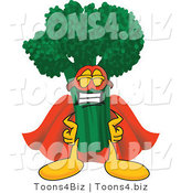 Vector Illustration of a Cartoon Broccoli Mascot Wearing a Super Hero Costume by Toons4Biz