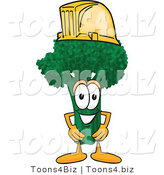 Vector Illustration of a Cartoon Broccoli Mascot Wearing a Yellow Hardhat Helmet by Toons4Biz