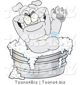 Vector Illustration of a Cartoon Bulldog Mascot Bathing in a Metal Tub by Toons4Biz