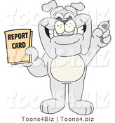 Vector Illustration of a Cartoon Bulldog Mascot Holding a Report Card by Toons4Biz