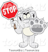 Vector Illustration of a Cartoon Bulldog Mascot Holding a Stop Sign by Toons4Biz
